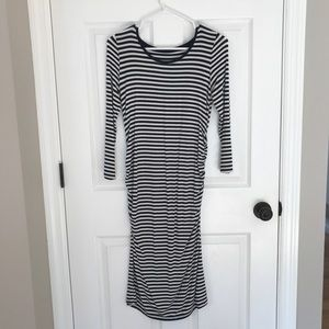 Blue and white striped maternity dress.