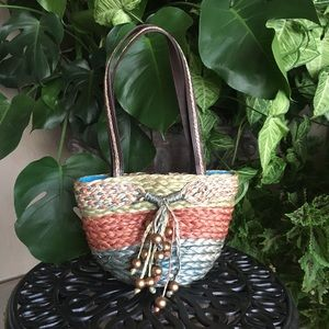 Multi color woven lined basket bag w/ bead detail