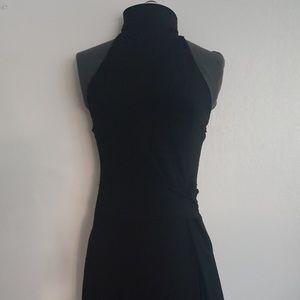 Black Wrap-like Dress High Neck Back Sequin Strap