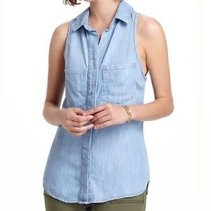 CLOTH & STONE for Anthropologie Chambray Shirt Lg