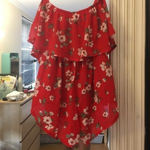 LF Dresses - LF RED FLORAL ROMPER XS