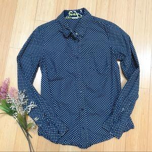 BODEN navy polka dot button down shirt, US 2