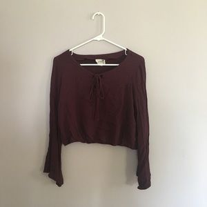 L.A Hearts Bell Sleeves Cropped Top