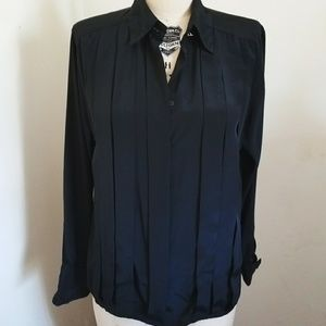 1990S silky black pleated blouse