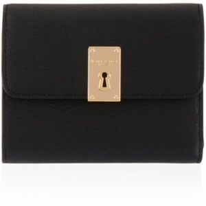 Henri Bendel mini blk turn key trifold wallet new