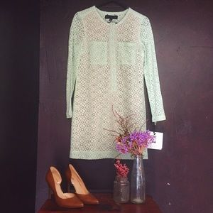 NWT! Victoria Beckham Lace Shift Dress in Mint