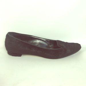 SALE ❤️ Manolo Blahnik black fur loafers size 8.5