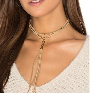 Ettika Suede Tan and Gold Choker Necklace
