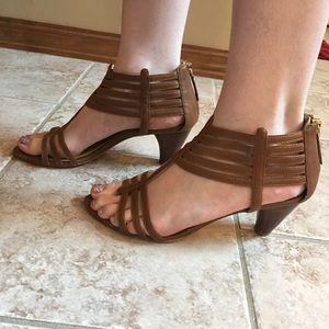Nine West Heel Strapped Sandals Tan Sz 9