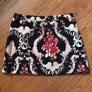 Red Rose Tapestry Mini Skirt