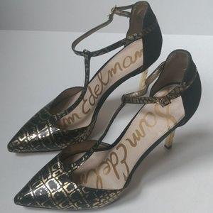 dcf781a370d627 Sam Edelman Shoes - Smithfield Bronze Leather Pattern T-Strap Pump 10