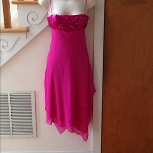 BCBGMaxazria Knee Length Sequined Fuchsia Dress