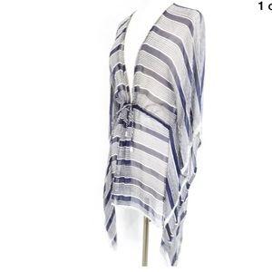 Calypso St. Barth Striped Beaded Trim Silk Coverup