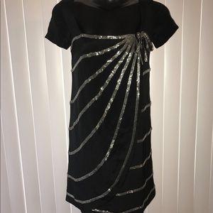 FOLEY + CORRINA BEADED BLACK DRESS