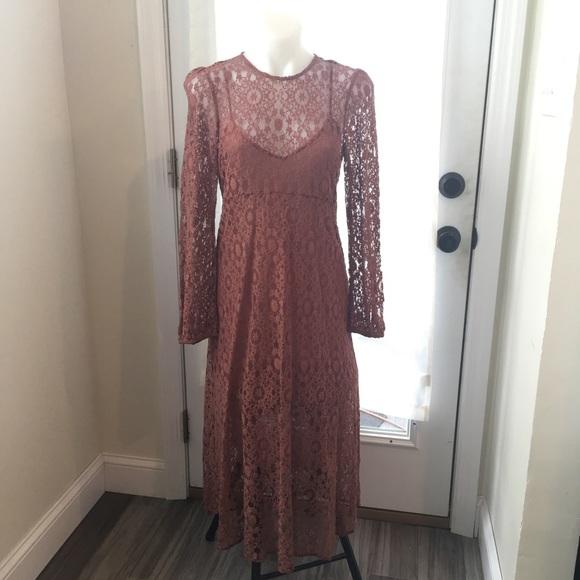 defb263ac639a ZARA Floral Sheer Lace Long Sleeve Maxi Dress