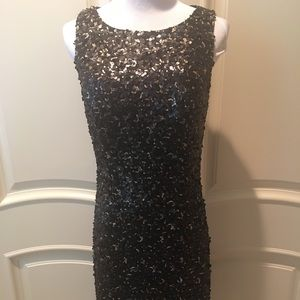 Black and Gold Sequin Sue Wong Dress