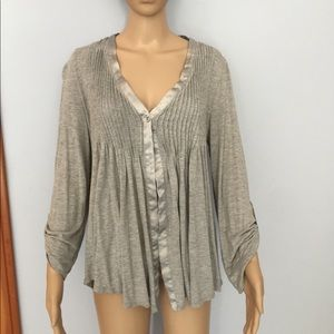 Grey Top with Pintuck Pleats