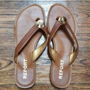 Report Brown Leather Like Sandals