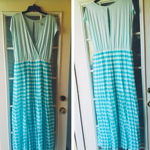Blue and White Pleated Maxi Dress