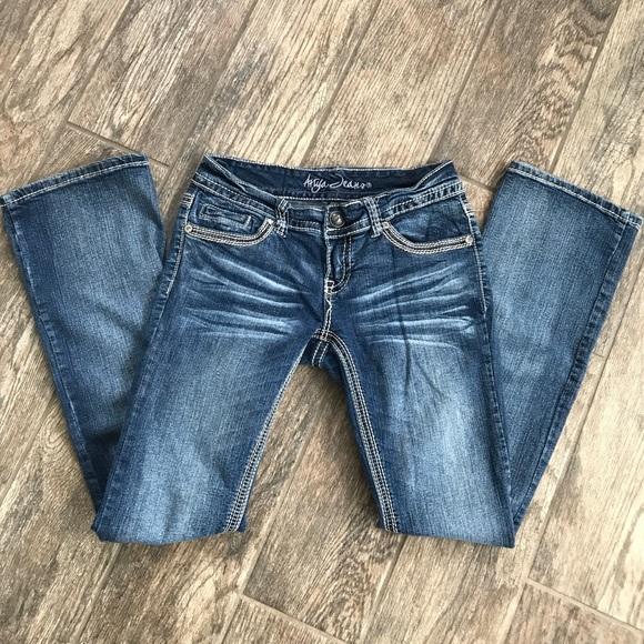 24e9c678f28b2 Ariya Jeans Dark Wash Boot Cut Size 56