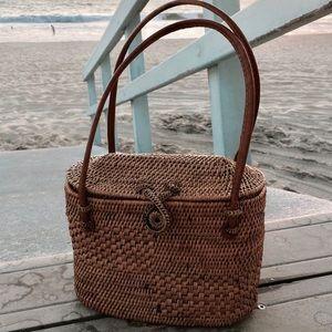 Oval Handbag with Batik Fabric Interior