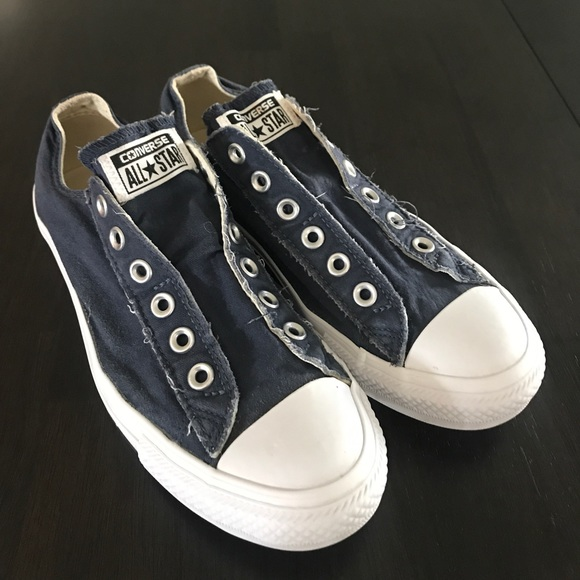 0ba1aa87b784 Converse Shoes - Blue Slip-On Laceless Converse Women s 8