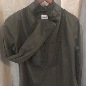 Dark green lace front blouse