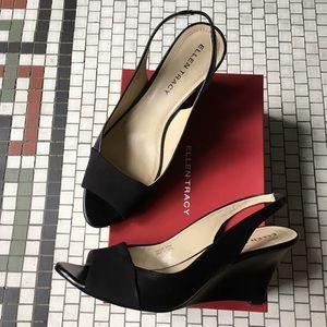 Like new! Open toe black leather wedges size 8.5