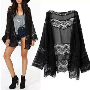 Sweaters - Black Lace Kimono Cardigan