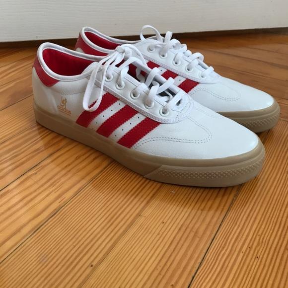 Adidas white/ red sneakers   adidas skateboarding