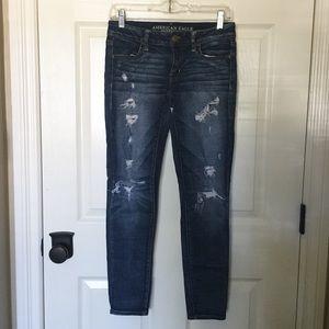 Distressed & Faded Dark Blue Jeans