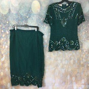 Lawrence Kazar silk bead sequin flapper skirt set