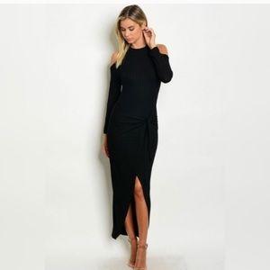 Dresses & Skirts - Black tie-front cold shoulder dress