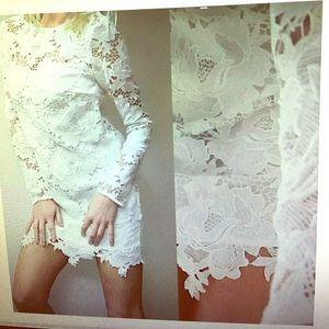 NWT S White Roses lace Boho Glam Sheer Dress