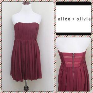 Alice + Olivia Strapless Chiffon Silk Dress 4 S