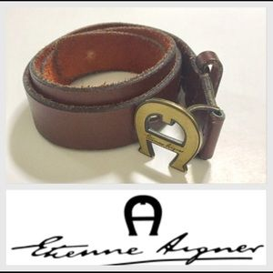 Vintage Etienne Aigner Brown Leather Belt, Small