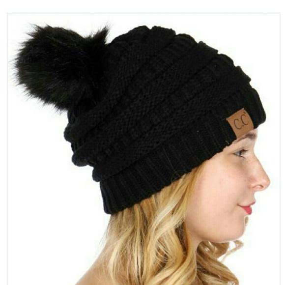 ca358c8a8b8 🆕C.C. Black Slouchy Faux Fur Pom Pom Beanie