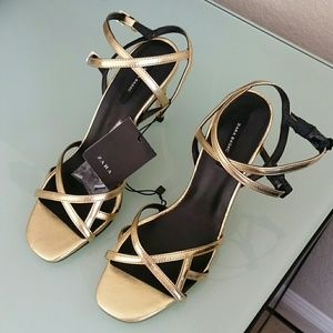 Zara Strappy Gold Heels 7.5 # 2663