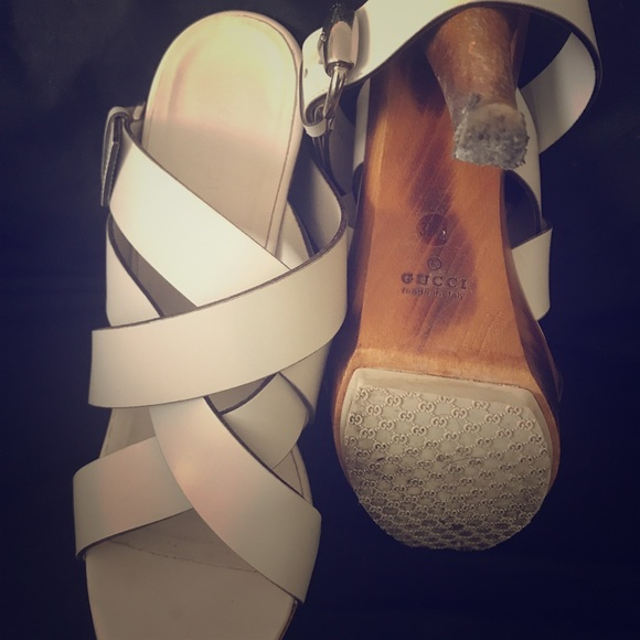 66c275d82a0 Gucci Shoes - Gucci Sandal White Leather Bamboo with Ankle Strap