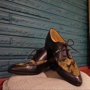 Banana Republic leather & fur Erica Oxford shoes
