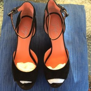 Fergie Black Wedge Heels
