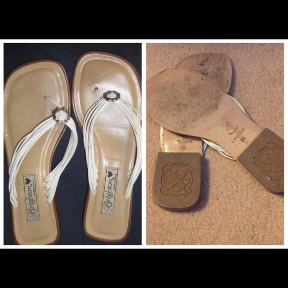 b1aa98b0d470 Brighton Shoes - BRIGHTON WHITE FLAT STRAPPY SANDALS W  SILVER 9.5