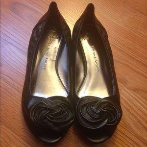 Leather rose peep toe flats