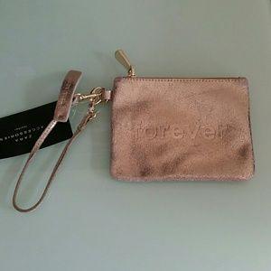 Zara leather wristlet clutch gold 9736