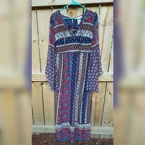 Flying Tomato boho peasant maxi dress