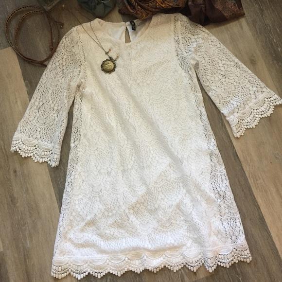Divided Dresses & Skirts - H&M White Crochet Lace Bell Sleeve Mini Dress