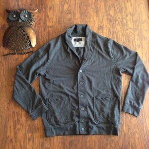 21MEN grey sweater XL button cardigan