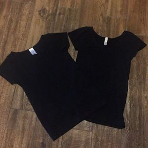 Tops - Set of Two Stretchy Black Cap Sleeve T-Shirts