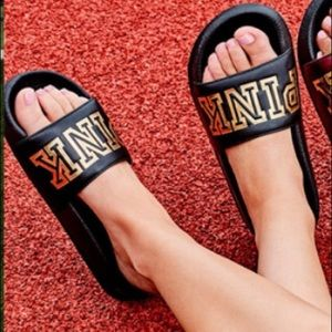 VS PINK Black and Gold Slides