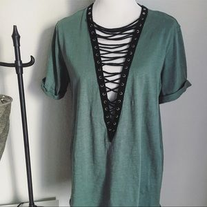 Tops - Green Lace up front top